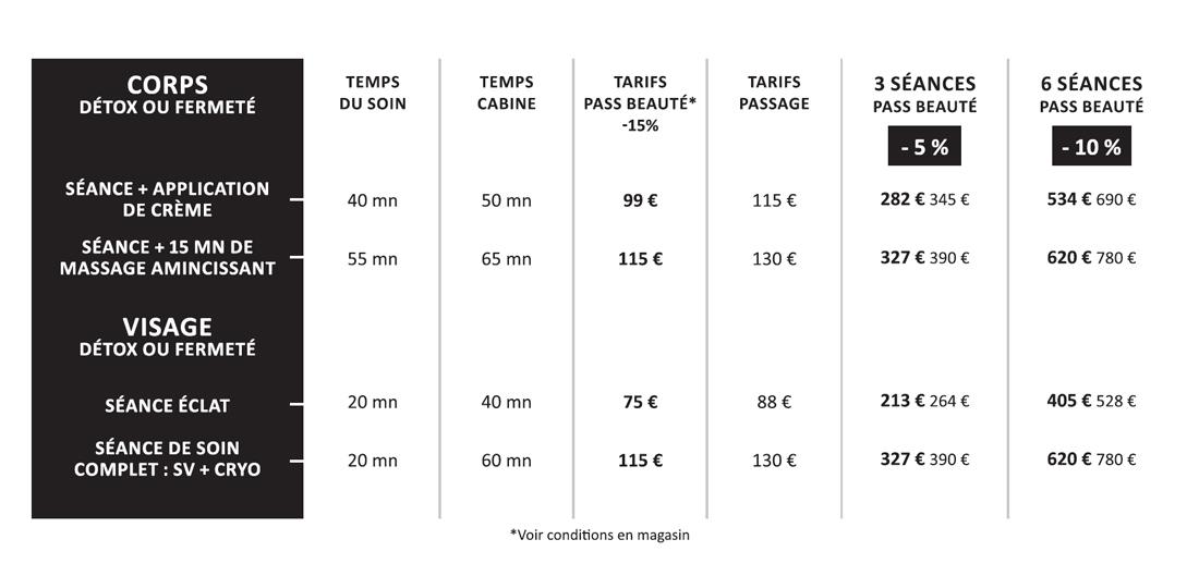 Tarifs Cryoskin Cocoon Beaute Bien Etre Paris